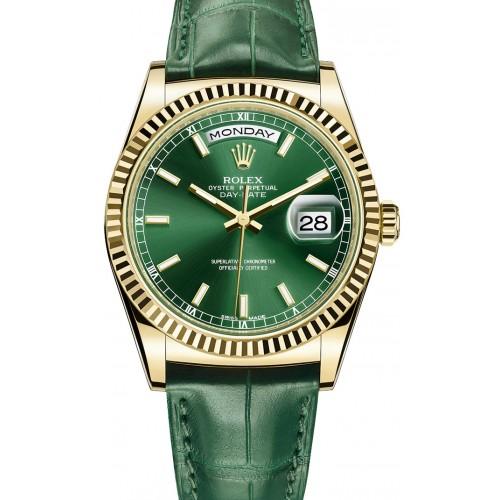 Réplicas de relógio da Rolex-day-date-gold-green-edition